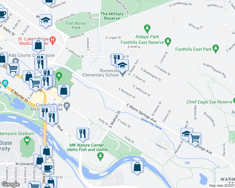 map of restaurants, bars, coffee shops, grocery stores, and more near 916 East Warm Springs Avenue in Boise