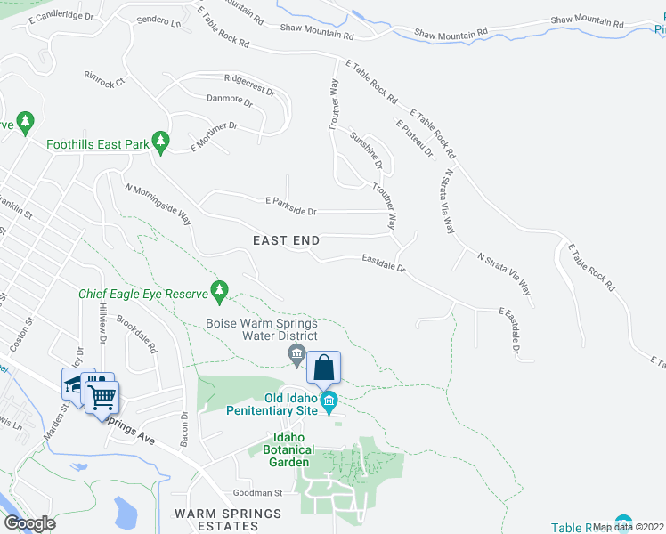 map of restaurants, bars, coffee shops, grocery stores, and more near 2399 Eastdale Drive in Boise