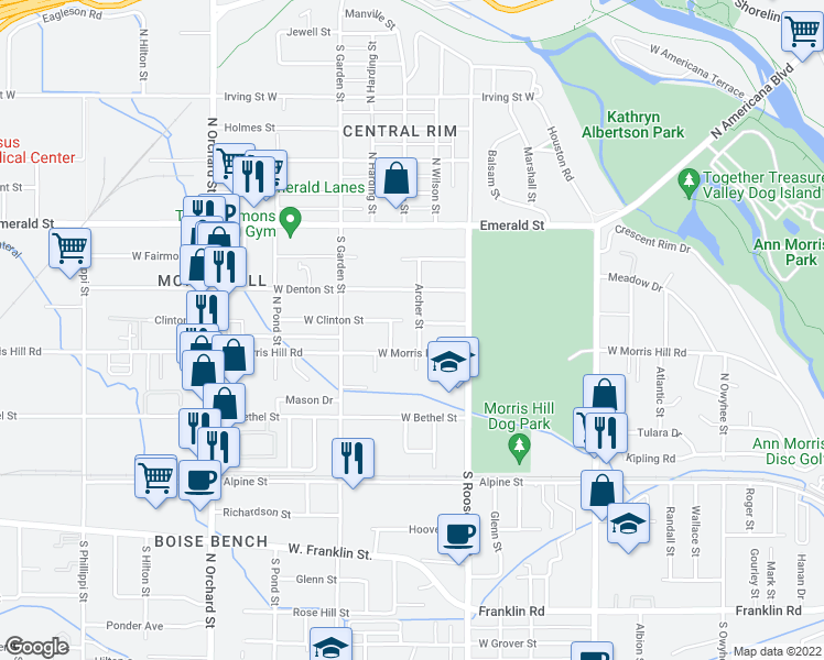 map of restaurants, bars, coffee shops, grocery stores, and more near 419 Archer Street in Boise
