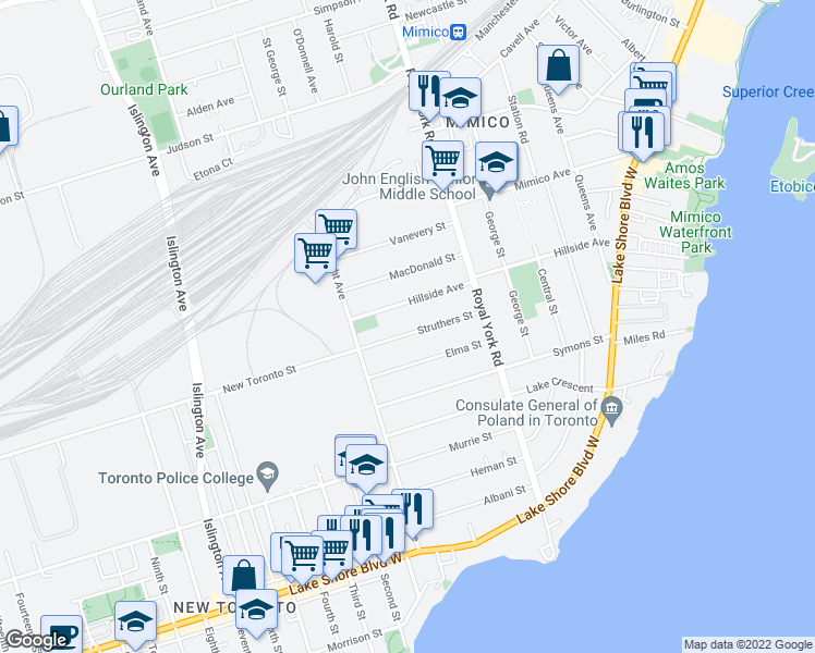 map of restaurants, bars, coffee shops, grocery stores, and more near 62 Struthers Street in Toronto