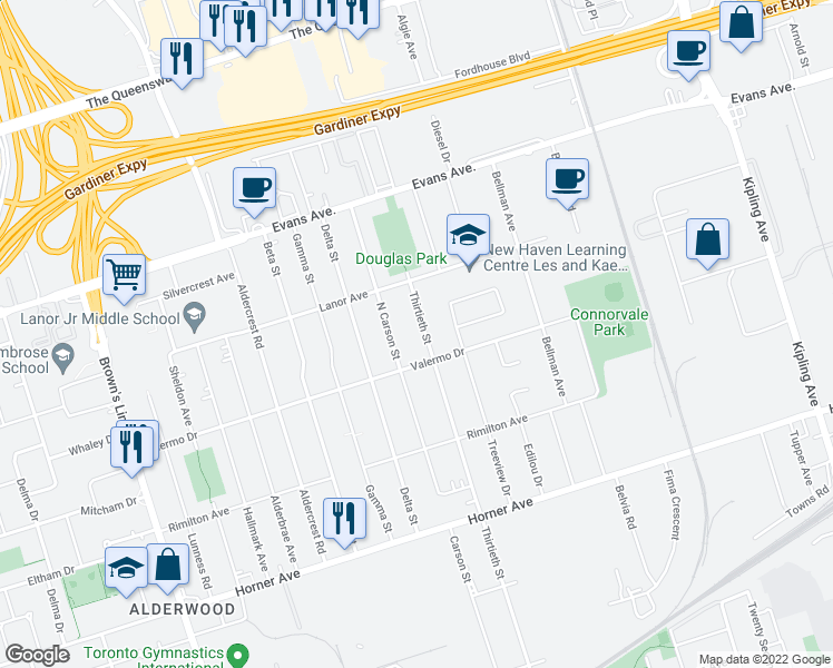 map of restaurants, bars, coffee shops, grocery stores, and more near 274 Thirtieth Street in Toronto
