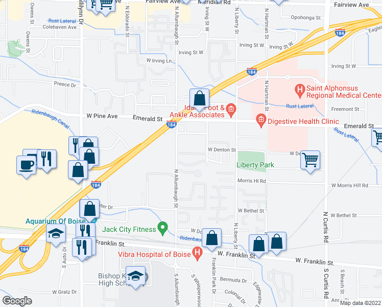 map of restaurants, bars, coffee shops, grocery stores, and more near 6635-6775 West Clinton Lane in Boise