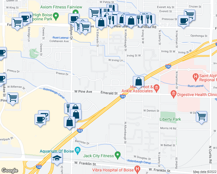 map of restaurants, bars, coffee shops, grocery stores, and more near 6999 Freemont Street in Boise