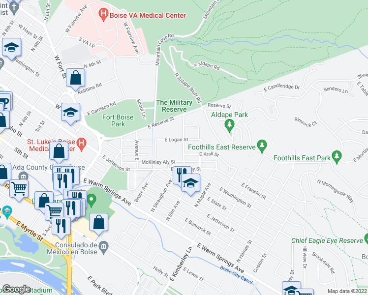 map of restaurants, bars, coffee shops, grocery stores, and more near 463 Avenue H in Boise