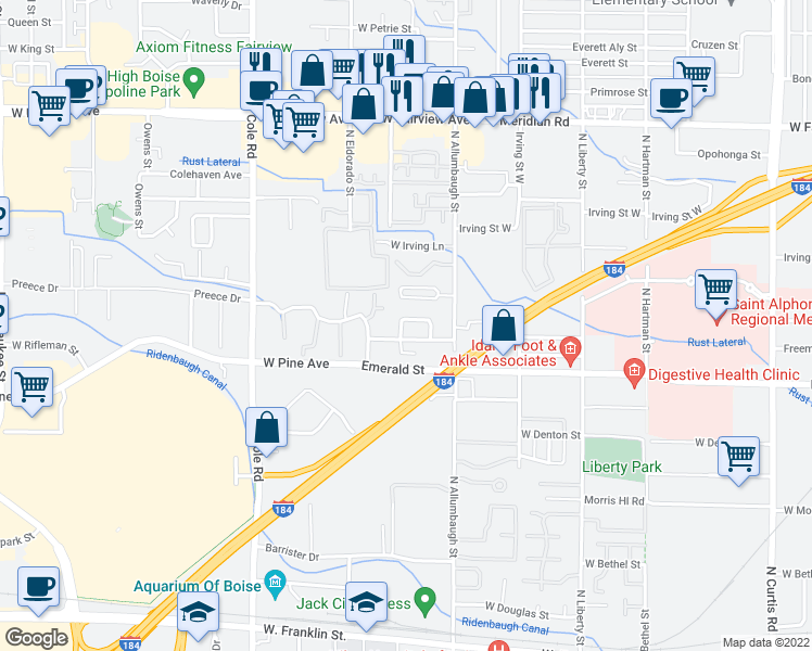 map of restaurants, bars, coffee shops, grocery stores, and more near 6937 West Preece Lane in Boise