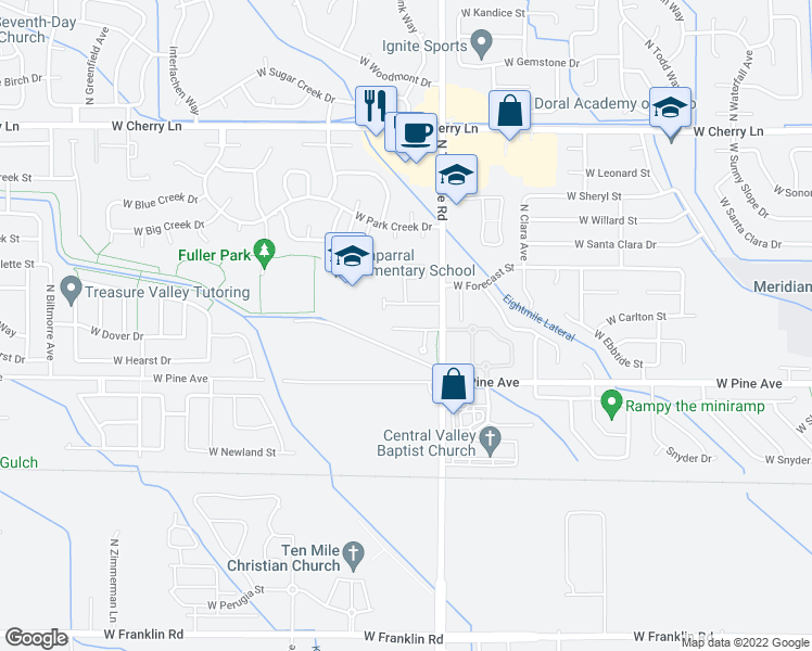 map of restaurants, bars, coffee shops, grocery stores, and more near 3249 West Wave Drive in Meridian