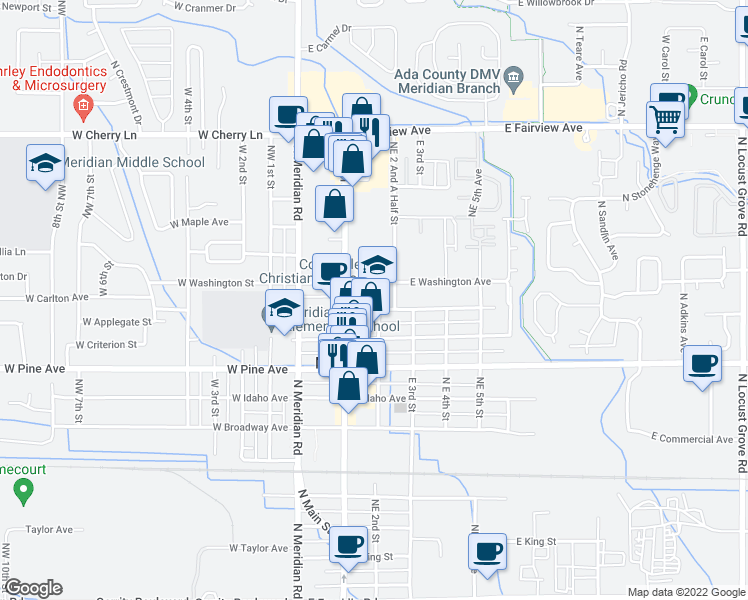 map of restaurants, bars, coffee shops, grocery stores, and more near in Meridian