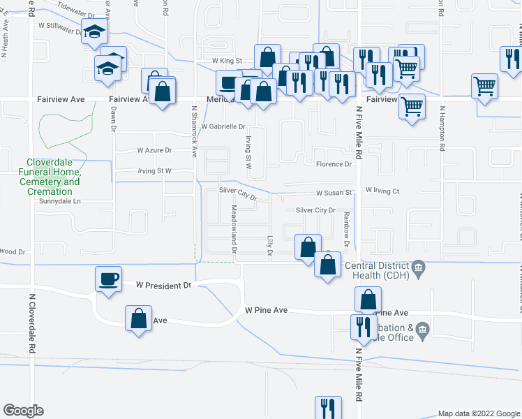 map of restaurants, bars, coffee shops, grocery stores, and more near 551 Meadowland Circle in Boise