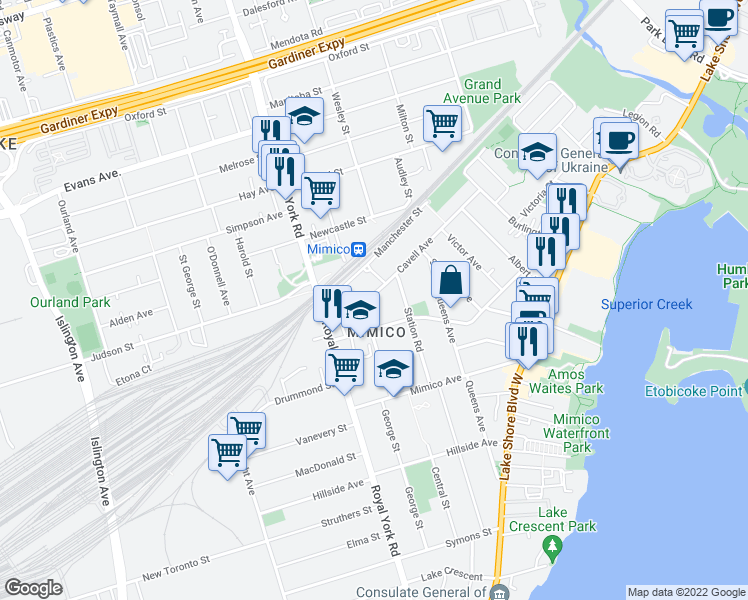 map of restaurants, bars, coffee shops, grocery stores, and more near 117 Cavell Avenue in Toronto