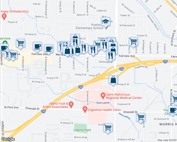 map of restaurants, bars, coffee shops, grocery stores, and more near 1334 North Liberty Street in Boise