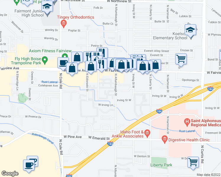 map of restaurants, bars, coffee shops, grocery stores, and more near 1317 North Allumbaugh Street in Boise