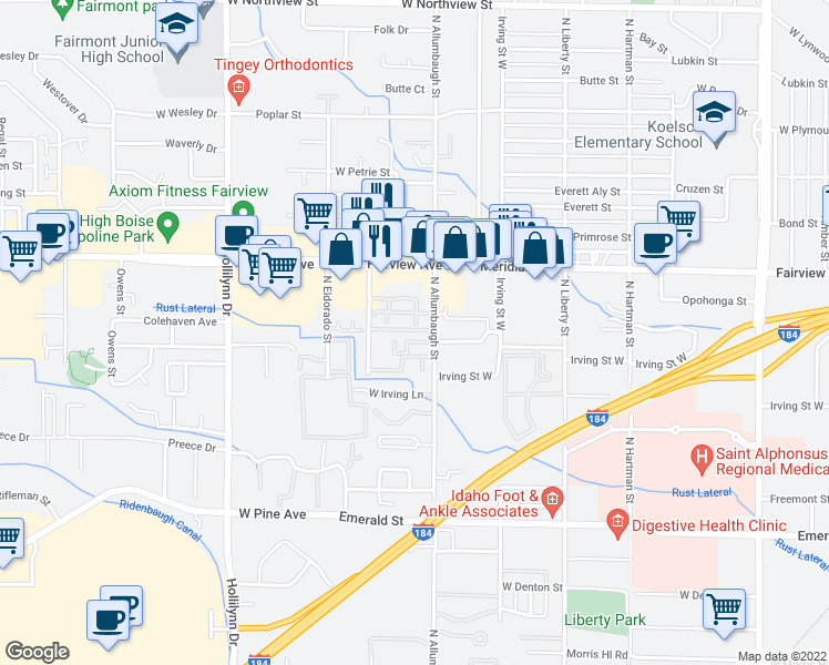 map of restaurants, bars, coffee shops, grocery stores, and more near 6827-6919 West Colehaven Lane in Boise