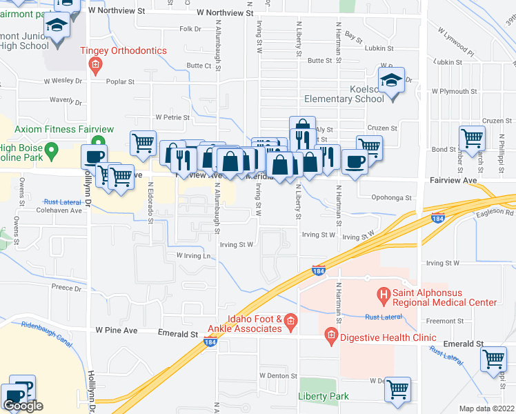 map of restaurants, bars, coffee shops, grocery stores, and more near 1488 North Raymond Street in Boise