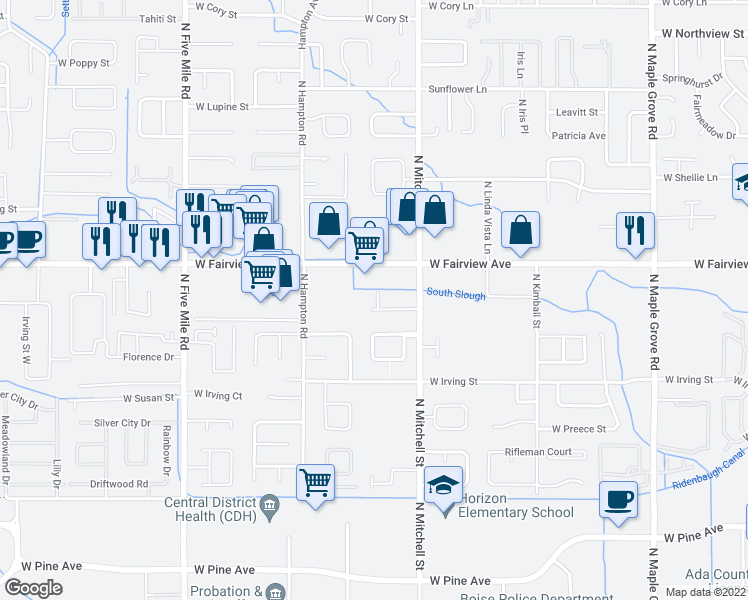 map of restaurants, bars, coffee shops, grocery stores, and more near 9962 West Rosecroft Court in Boise