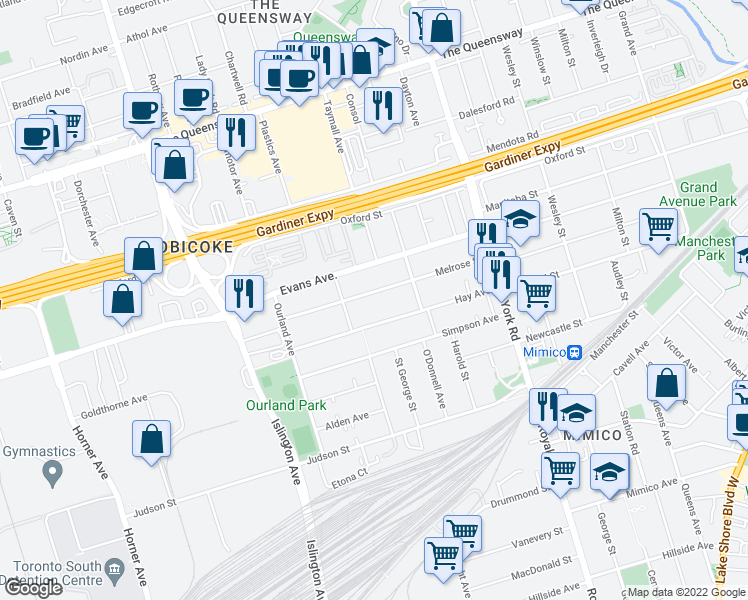 map of restaurants, bars, coffee shops, grocery stores, and more near 357 Melrose Street in Toronto