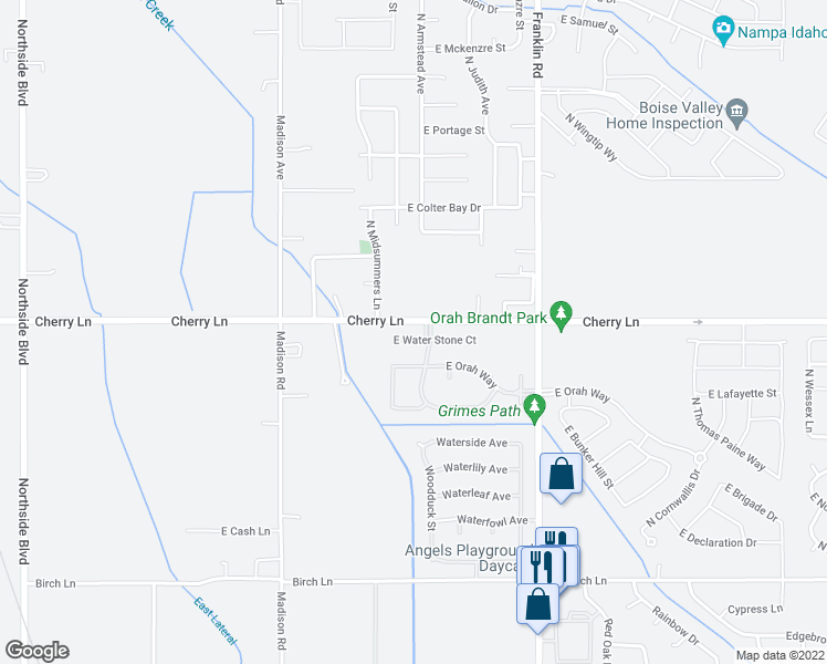 map of restaurants, bars, coffee shops, grocery stores, and more near 8250 Cherry Lane in Nampa