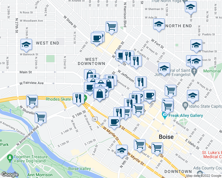 map of restaurants, bars, coffee shops, grocery stores, and more near 1401 West Idaho Street in Boise