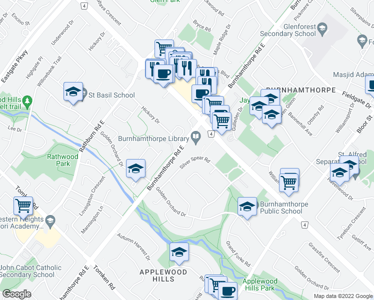 map of restaurants, bars, coffee shops, grocery stores, and more near 1315 Silver Spear Road in Mississauga