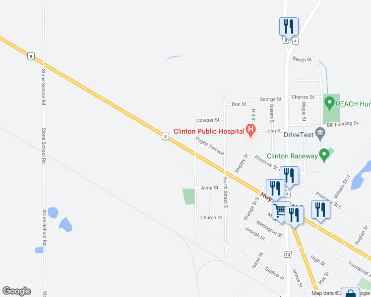 map of restaurants, bars, coffee shops, grocery stores, and more near 743 Highway 8 in Exeter