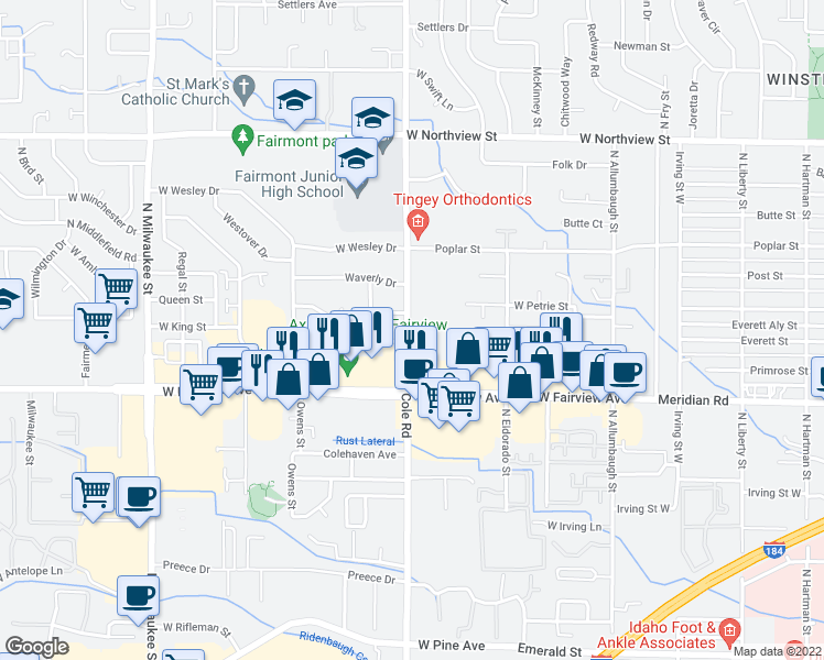 map of restaurants, bars, coffee shops, grocery stores, and more near 1800 North Cole Road in Boise