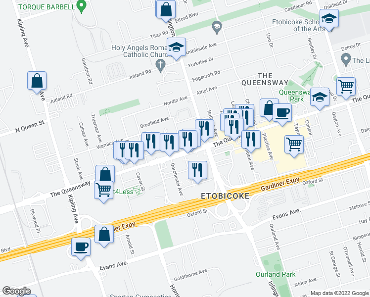 map of restaurants, bars, coffee shops, grocery stores, and more near 1040 The Queensway in Toronto