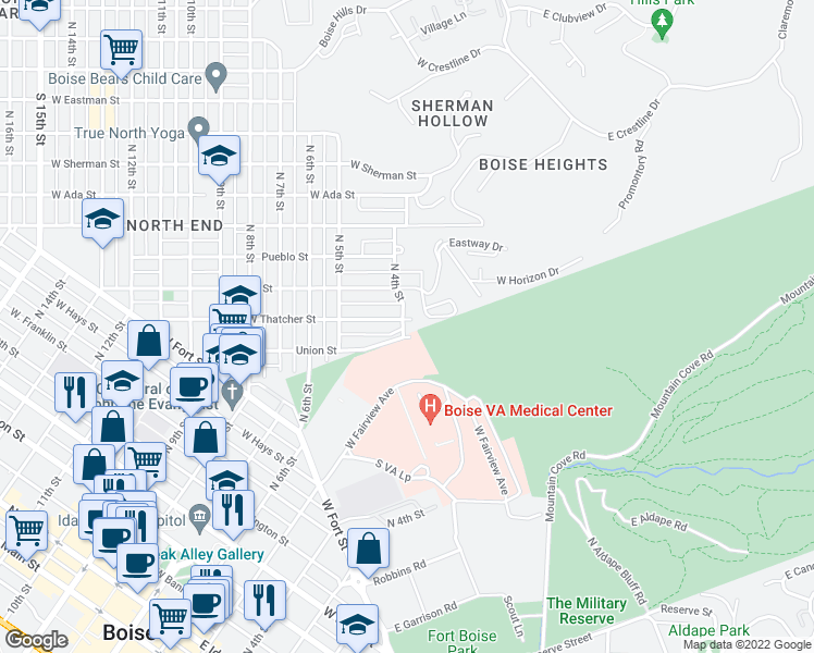 map of restaurants, bars, coffee shops, grocery stores, and more near 401-409 Union Street in Boise