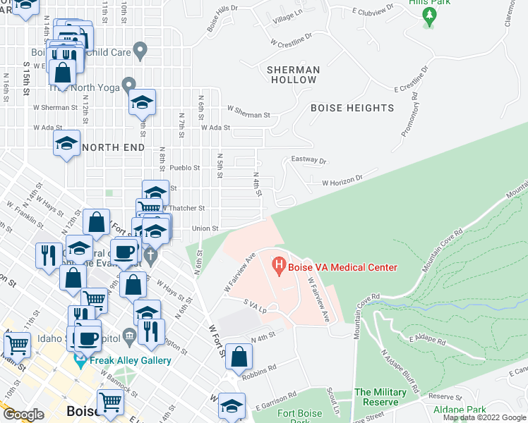 map of restaurants, bars, coffee shops, grocery stores, and more near 1100-1248 North 4th Street in Boise