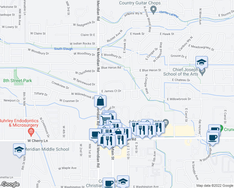 map of restaurants, bars, coffee shops, grocery stores, and more near 290 East James Court Drive in Meridian