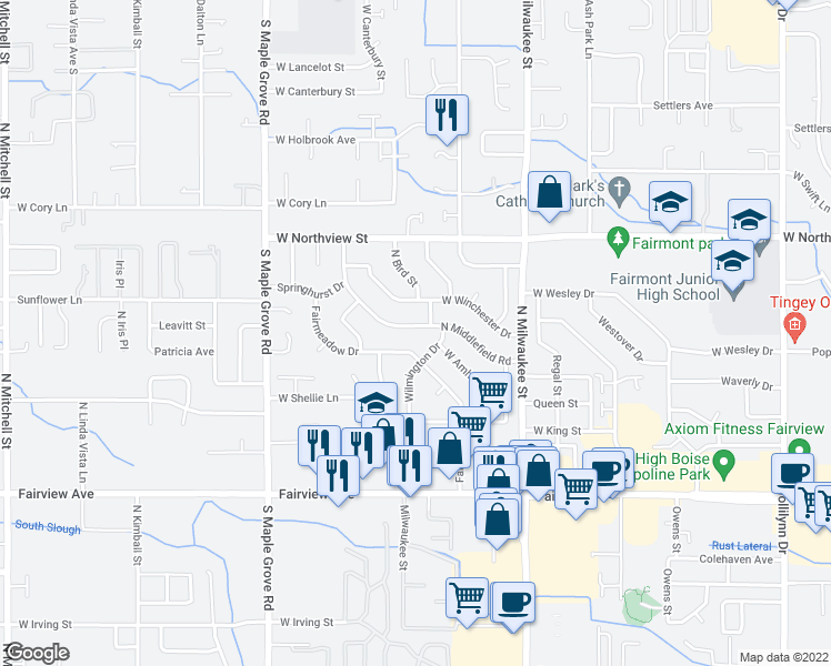 map of restaurants, bars, coffee shops, grocery stores, and more near 2131 Middlefield Road in Boise