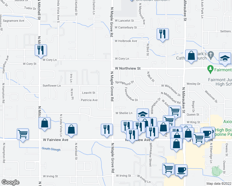 map of restaurants, bars, coffee shops, grocery stores, and more near 8906 West Landmark Court in Boise