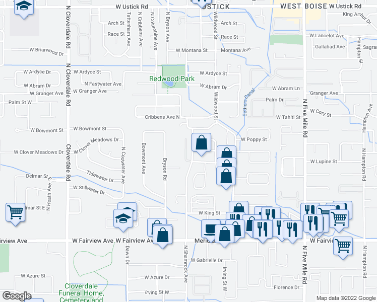map of restaurants, bars, coffee shops, grocery stores, and more near 2193 North Shamrock Avenue in Boise