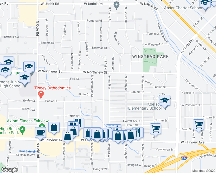 map of restaurants, bars, coffee shops, grocery stores, and more near 2160 North Raymond Street in Boise