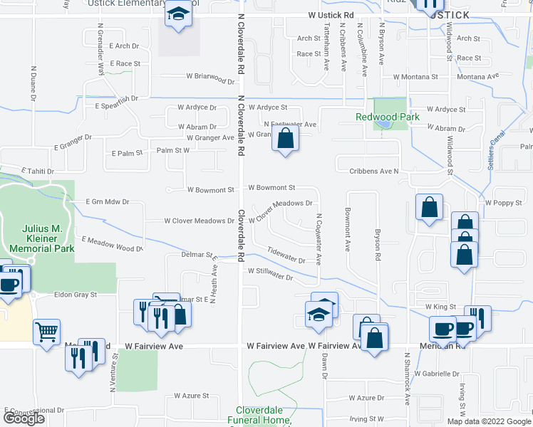 map of restaurants, bars, coffee shops, grocery stores, and more near 2663 North Fastwater Avenue in Boise