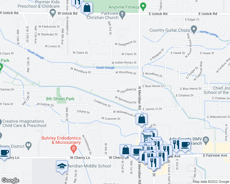 map of restaurants, bars, coffee shops, grocery stores, and more near 291 West Chrisfield Drive in Meridian