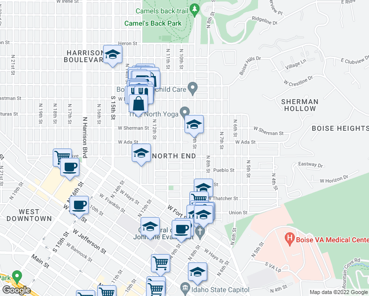 map of restaurants, bars, coffee shops, grocery stores, and more near 900 West Ada Street in Boise