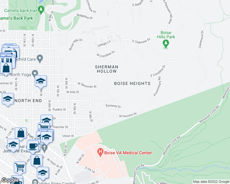 map of restaurants, bars, coffee shops, grocery stores, and more near 124 Skylark Drive in Boise
