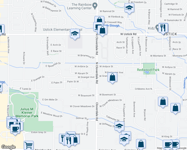 map of restaurants, bars, coffee shops, grocery stores, and more near 12219 West Abram Drive in Boise