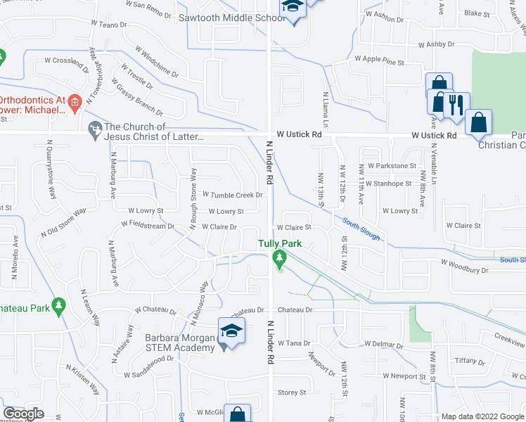 map of restaurants, bars, coffee shops, grocery stores, and more near 2838 North Blue Springs Avenue in Meridian
