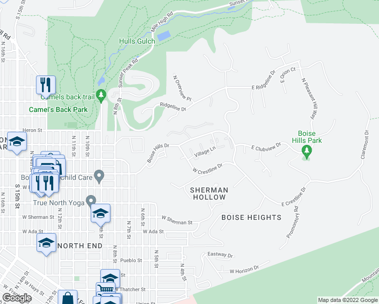 map of restaurants, bars, coffee shops, grocery stores, and more near 390 West Crestline Drive in Boise