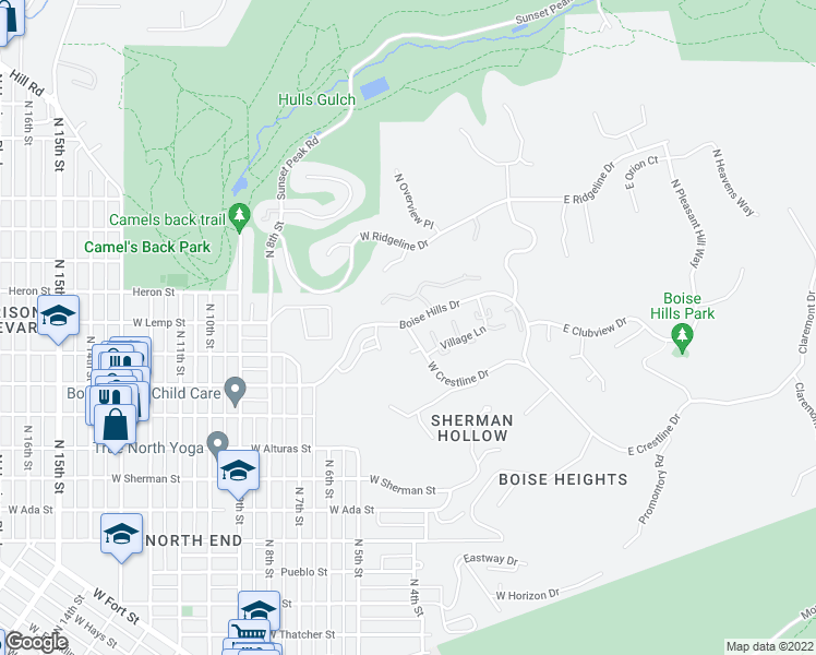map of restaurants, bars, coffee shops, grocery stores, and more near 351-401 West Crestline Drive in Boise
