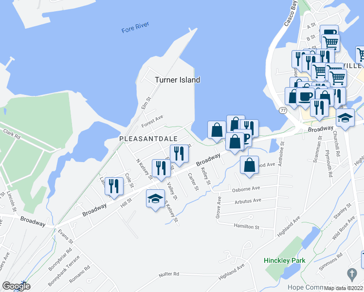 map of restaurants, bars, coffee shops, grocery stores, and more near 35 Mildred Street in South Portland