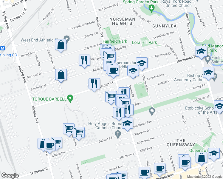 map of restaurants, bars, coffee shops, grocery stores, and more near 47 Edward Horton Crescent in Toronto