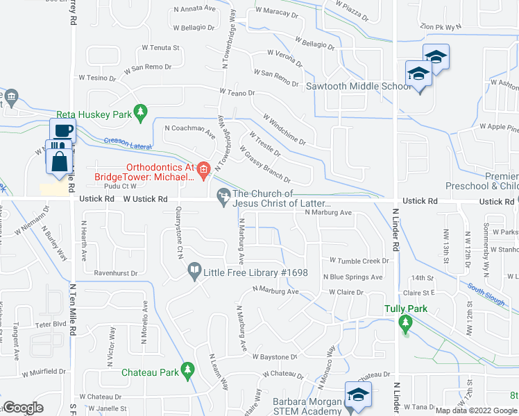 map of restaurants, bars, coffee shops, grocery stores, and more near 2260 W Pebblestone St in Meridian