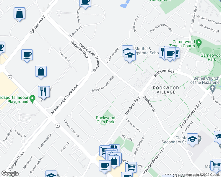 map of restaurants, bars, coffee shops, grocery stores, and more near 1588 Corkstone Glade in Mississauga