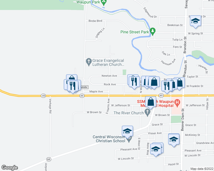 map of restaurants, bars, coffee shops, grocery stores, and more near 1105 Rock Avenue in Waupun
