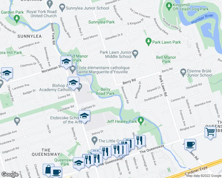map of restaurants, bars, coffee shops, grocery stores, and more near 257 Berry Road in Toronto