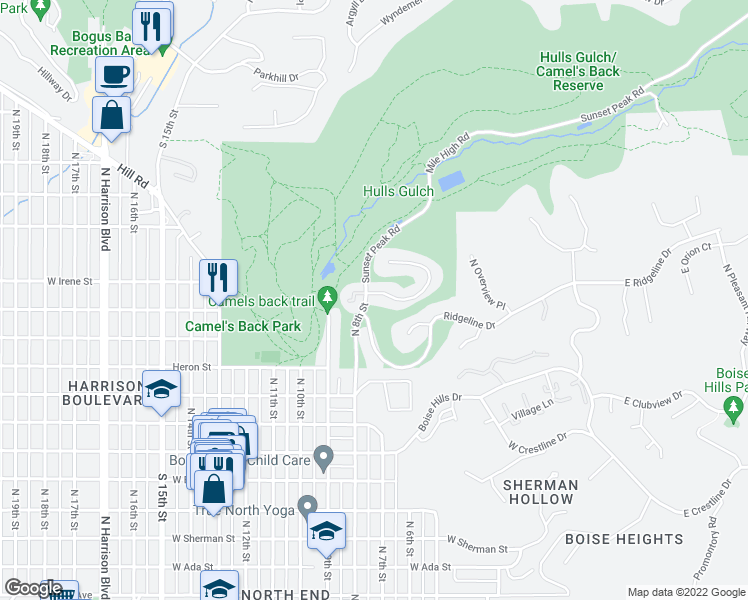 map of restaurants, bars, coffee shops, grocery stores, and more near 781 West Sandstone Court in Boise