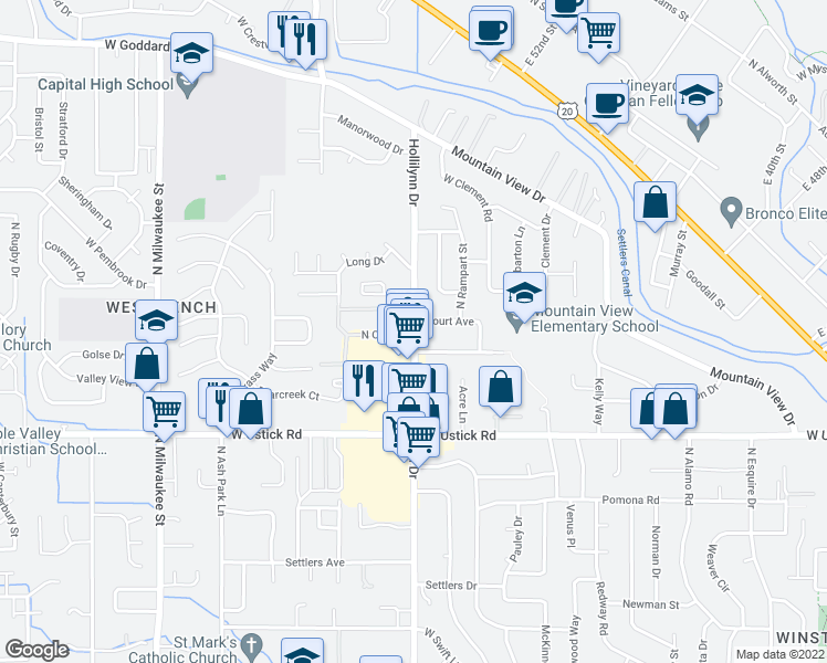 map of restaurants, bars, coffee shops, grocery stores, and more near 3430-3532 North Cole Road in Boise