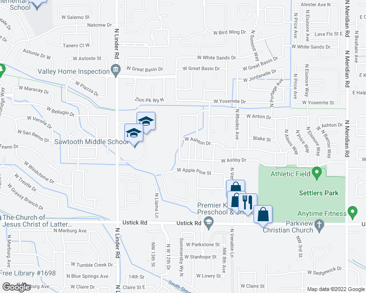 map of restaurants, bars, coffee shops, grocery stores, and more near 3736 North Mckinley Park Avenue in Meridian