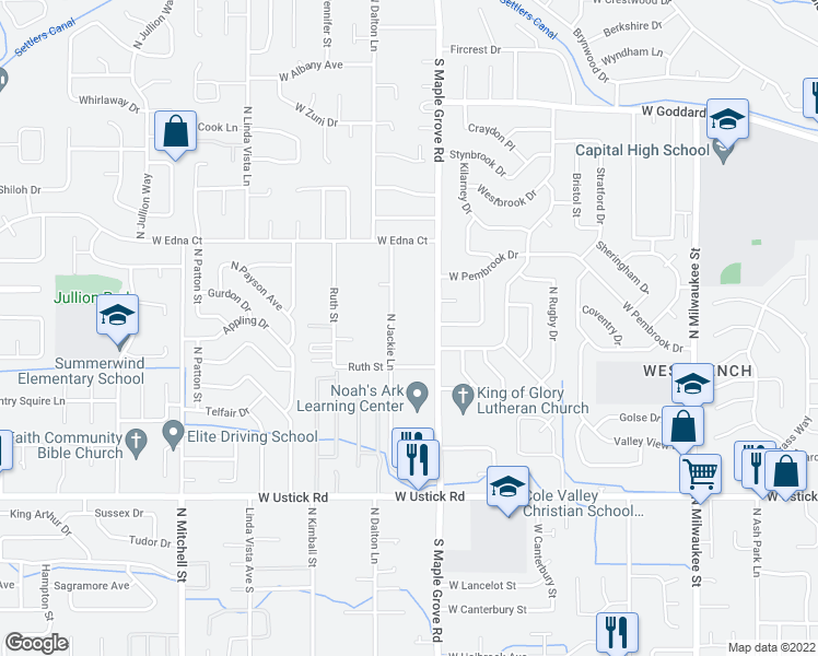 map of restaurants, bars, coffee shops, grocery stores, and more near 3690 North Jackie Lane in Boise